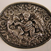 SALE Antique Sterling Silver Indian British Raj Brooch God Vishnu riding Bird Garuda
