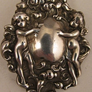 SALE Antique Sterling Silver Cupids Pendant