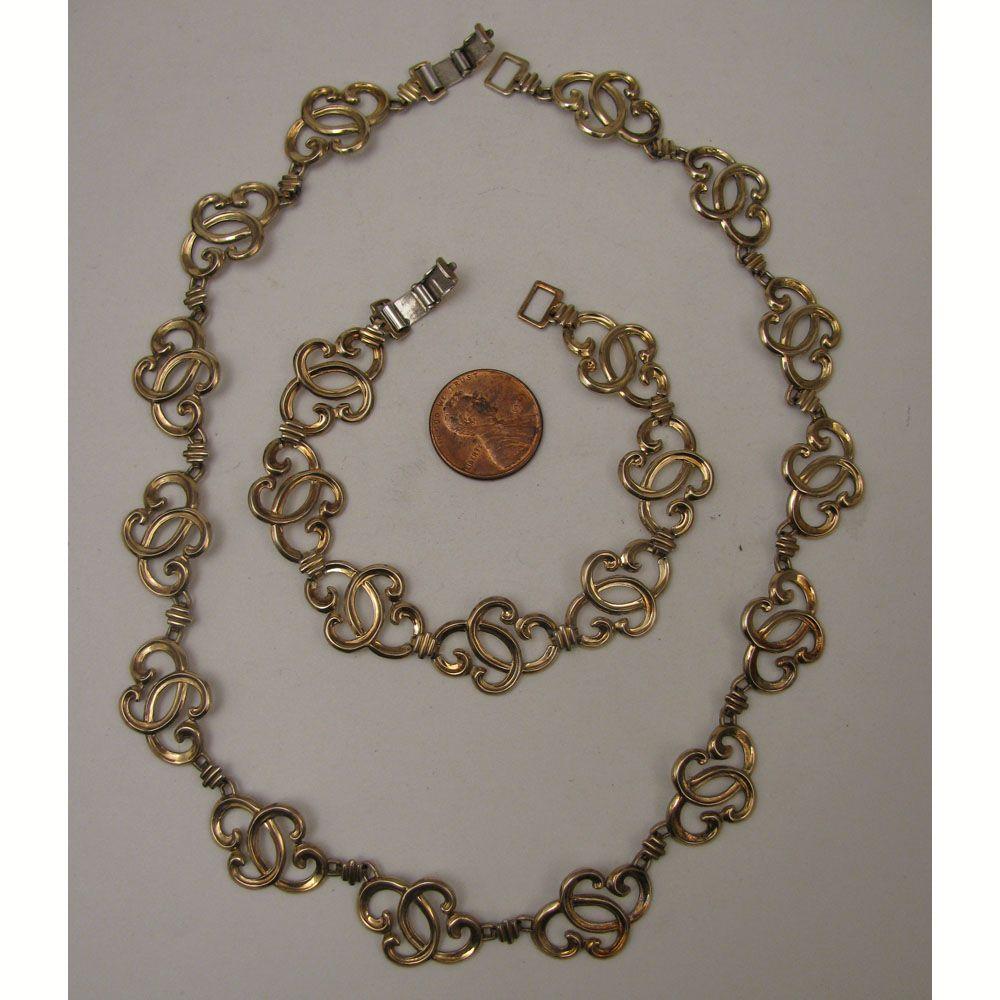 c.1940s W.E.Richards Symmetalic Sterling Vermeil Necklace & Bracelet Set