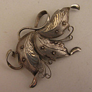 Antique Chinese Export Sterling Silver Flower Brooch