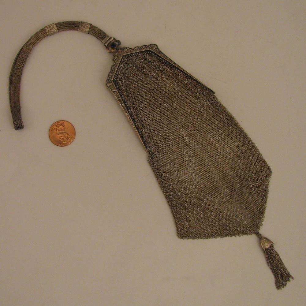 Edwardian German Silver Chain Mesh Wrist Purse