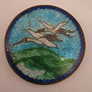 Antique Japanese Cranes Cloisonne & Guilloché Enameled Brooch