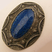 SALE Arts & Crafts Ruskin Art Pottery Blue Stone Pewter Brooch