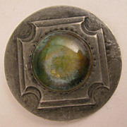SOLD Arts & Crafts Ruskin Art Pottery Round Green Stone Pewter Brooch