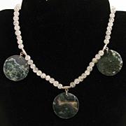 "16.5"" Rutilated Quartz w/ Moss Agate Coins Necklace"
