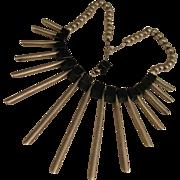 SALE Heavy Mod 1970s Sterling Silver Egyptian Revival Fan Necklace