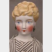 """SALE 19.5"""" German Parian Shoulder Head Doll w/ Pierced Ears & Earrings"""