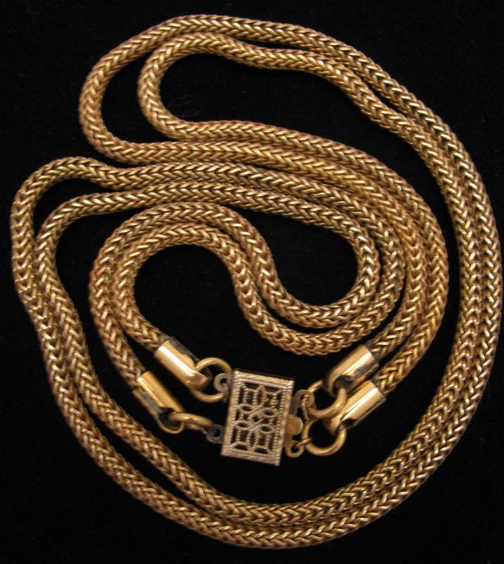 c.1940s Vintage Sterling Vermeil Double Snake Rope Chain Necklace