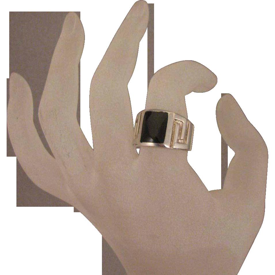 Mans Vintage Sterling Silver Black Stone Ring Size 9