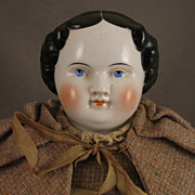 "Antique 21"" Kestner Flat Top China Head Doll in Wool Tweed"