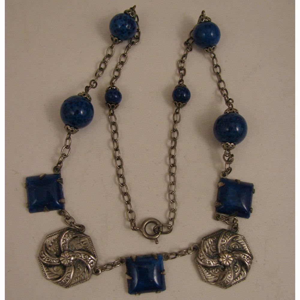 """1920s Vintage Silver Plate Czech Glass Faux Lapis 16.5"""" Necklace"""