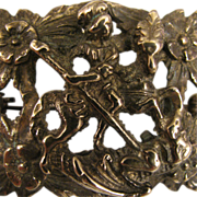 SALE Antique St. George Slaying Dragon Brooch