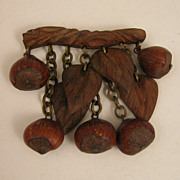 SALE Vintage Carved Wood & Hazel Nut Dangling Brooch