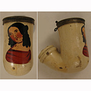 Victorian c.1840s -50s Clay Pipe w/ Lady in Red
