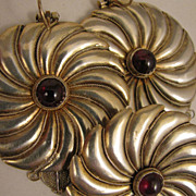 SALE Vintage Sterling Silver Garnet Brooch + Pierced Earrings Pinwheel Set