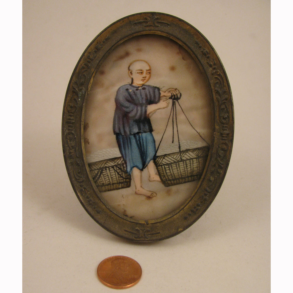 Antique Chinese Framed Mini Painting on Silk of Boy w/ Baskets
