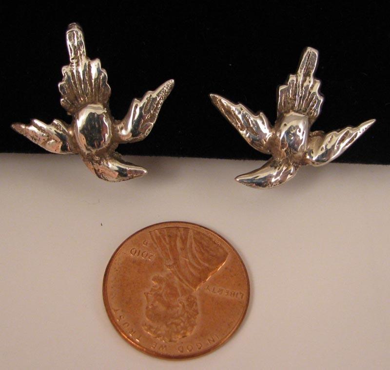 c.1900 Sterling Silver Flying Swallow Bird Earrings