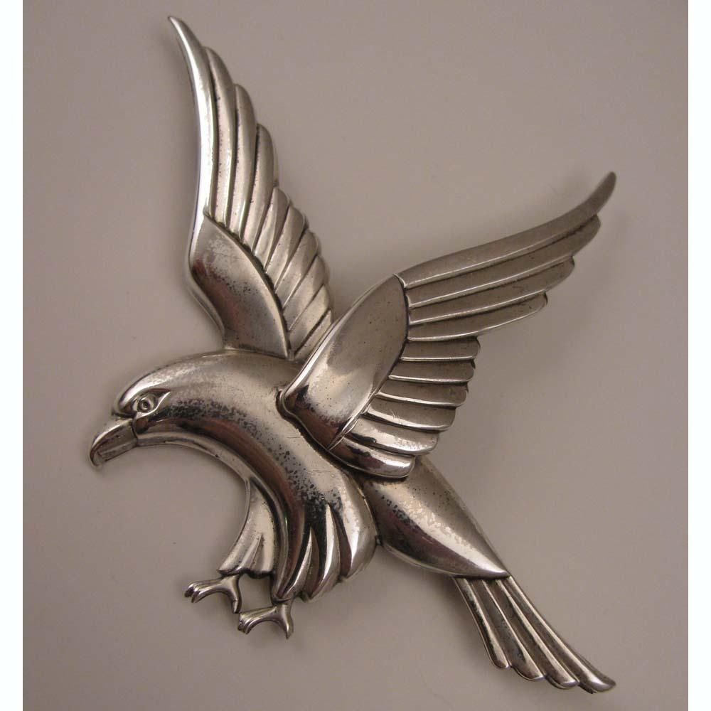 1940s Vintage Coro Norseland Sterling Silver Hawk Bird Brooch