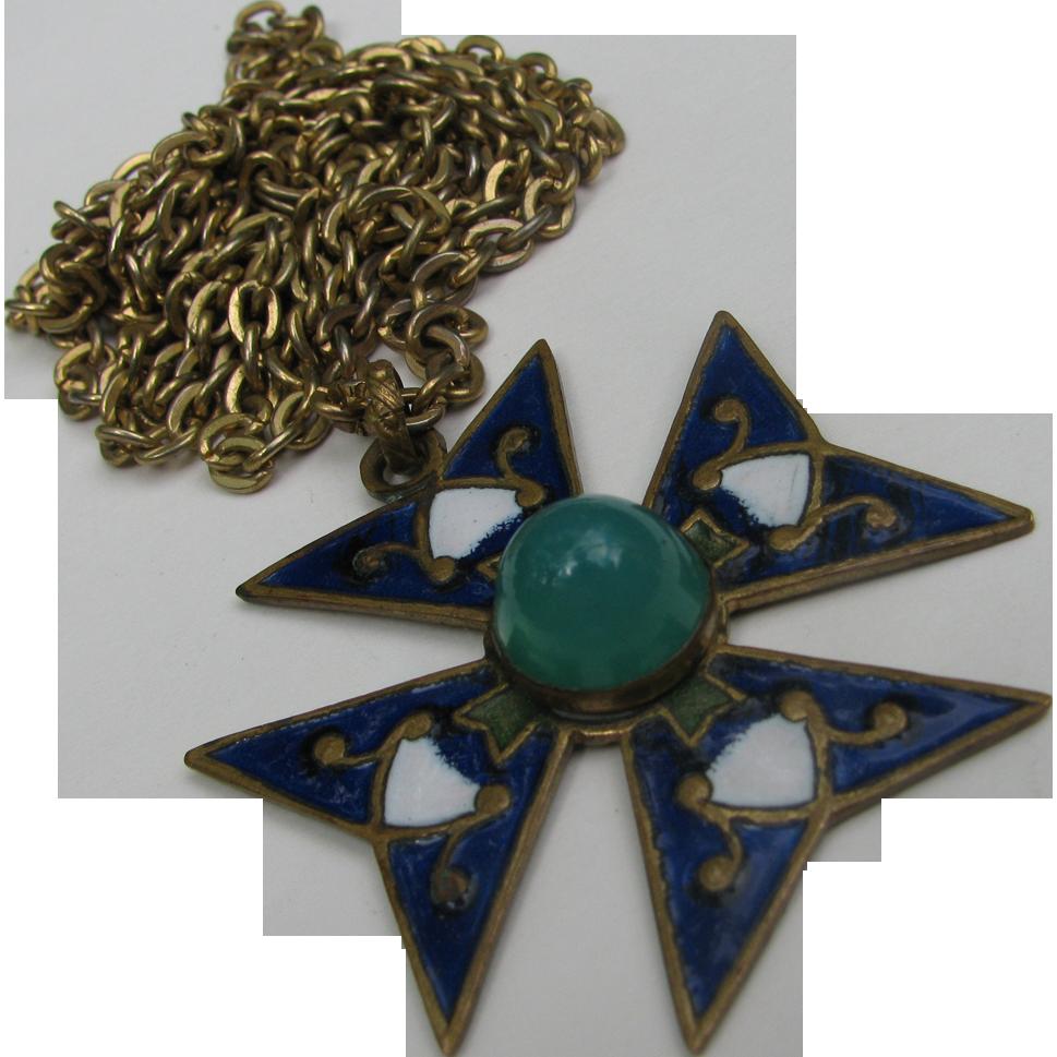 "Antique Enameled Maltese Cross Pendant on 40"" Necklace Chain"