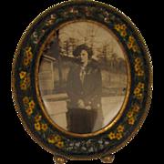 SALE 1920s Vintage MIcro Mosaic Miniature Picture Frame w/ Lady