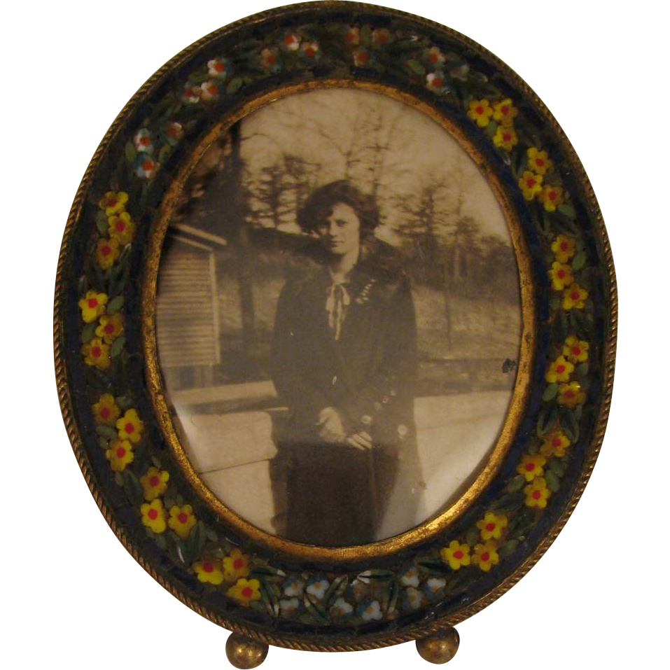 1920s Vintage MIcro Mosaic Miniature Picture Frame w/ Lady