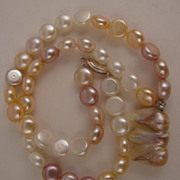 "17"" Variegated White, Pink & Mauve Fresh Water Pearl Necklace w/ Baroque Pearl Drop"