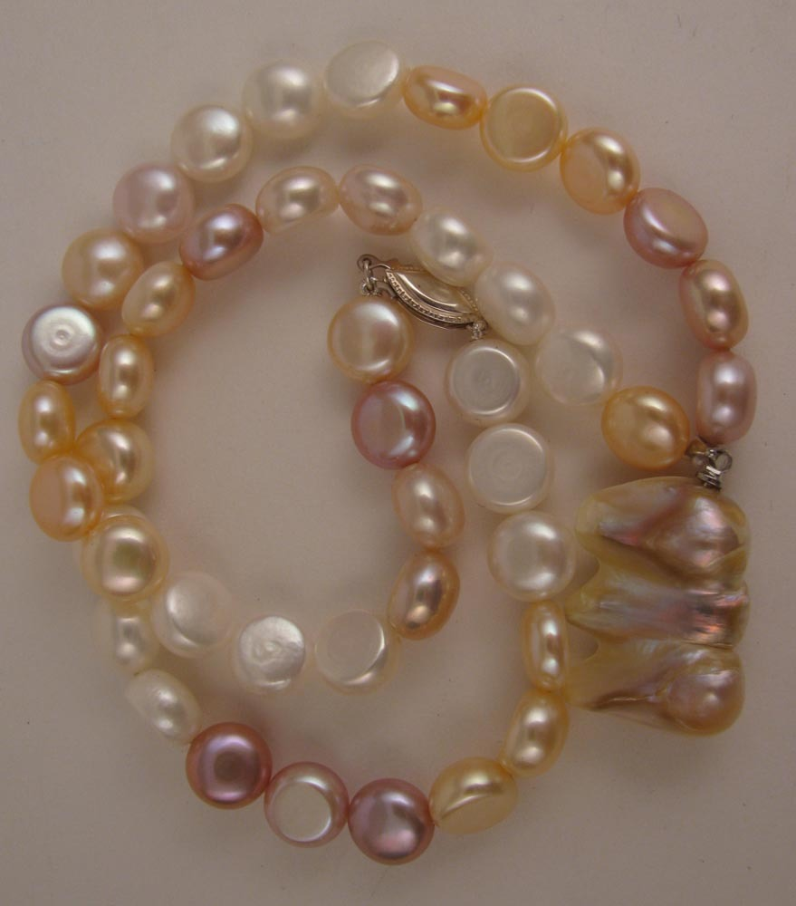 """17"""" Variegated White, Pink & Mauve Fresh Water Pearl Necklace w/ Baroque Pearl Drop"""