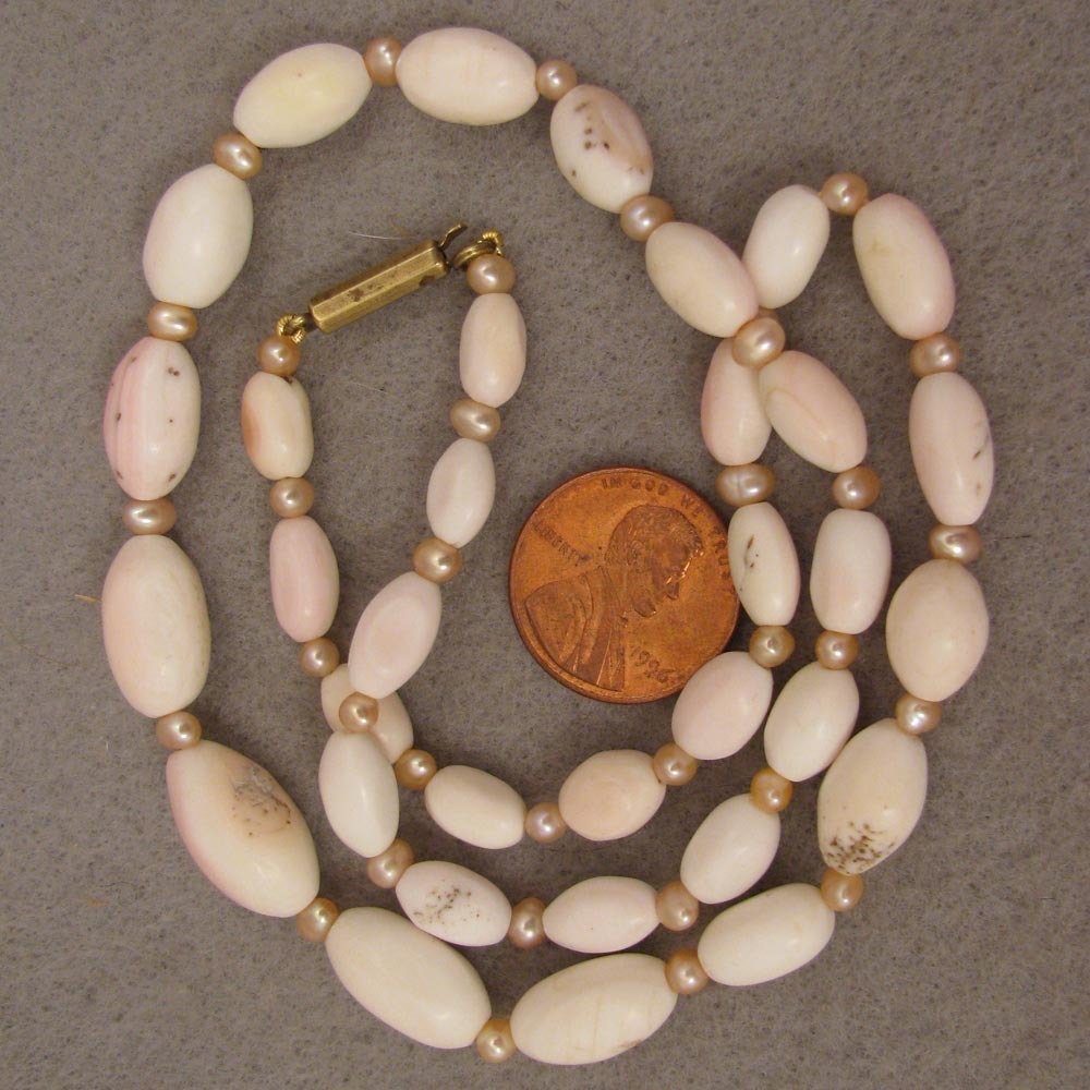 """18"""" Antique Angel Skin Coral + Cultured Pearl Necklace"""
