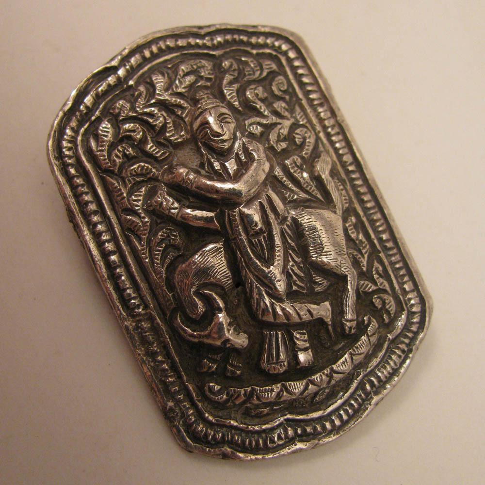 Antique Victorian Raj Sterling Silver God Krishna & Nandi Bull Brooch