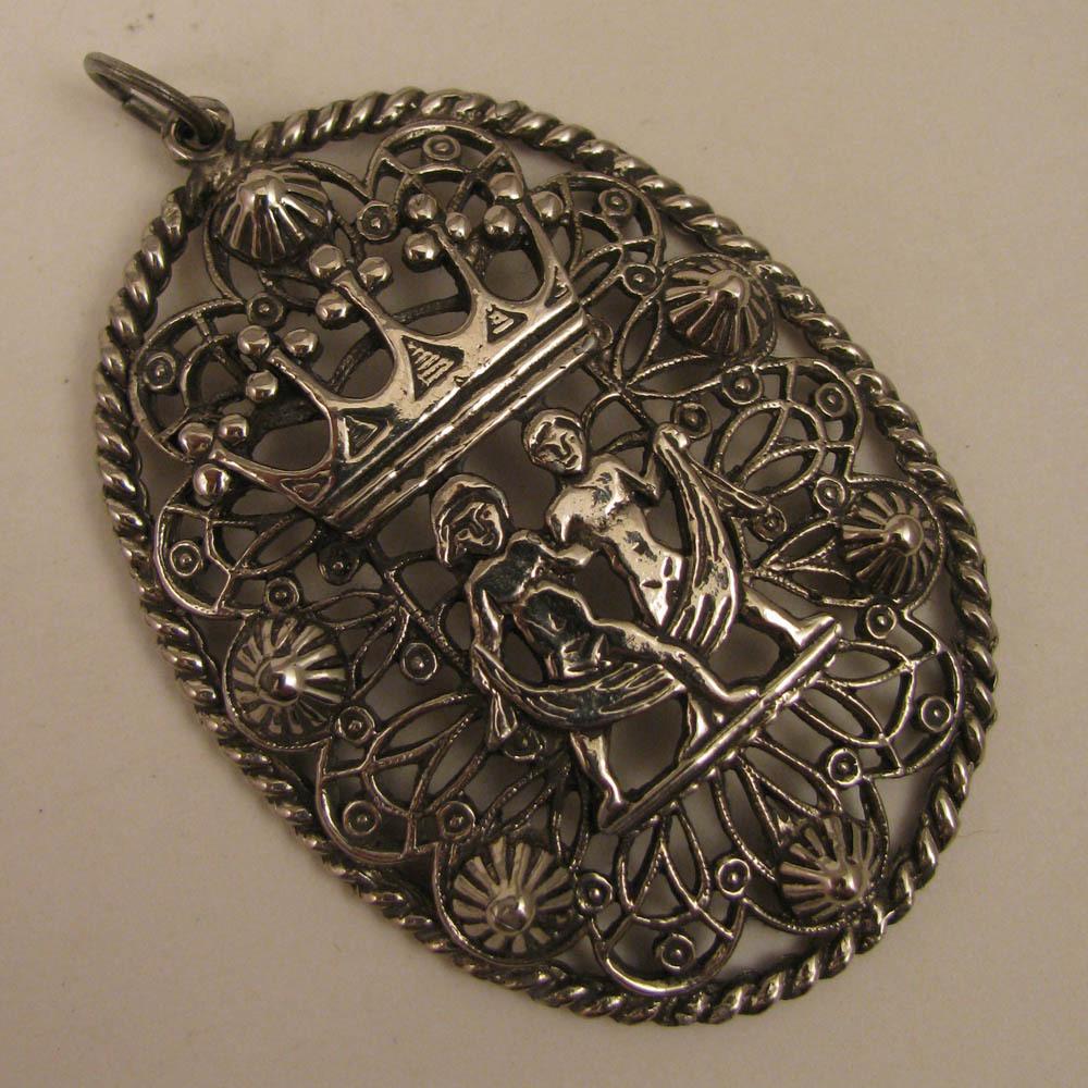 Antique Silver Plate Pendant w/ Crown & 2 Nude Figures
