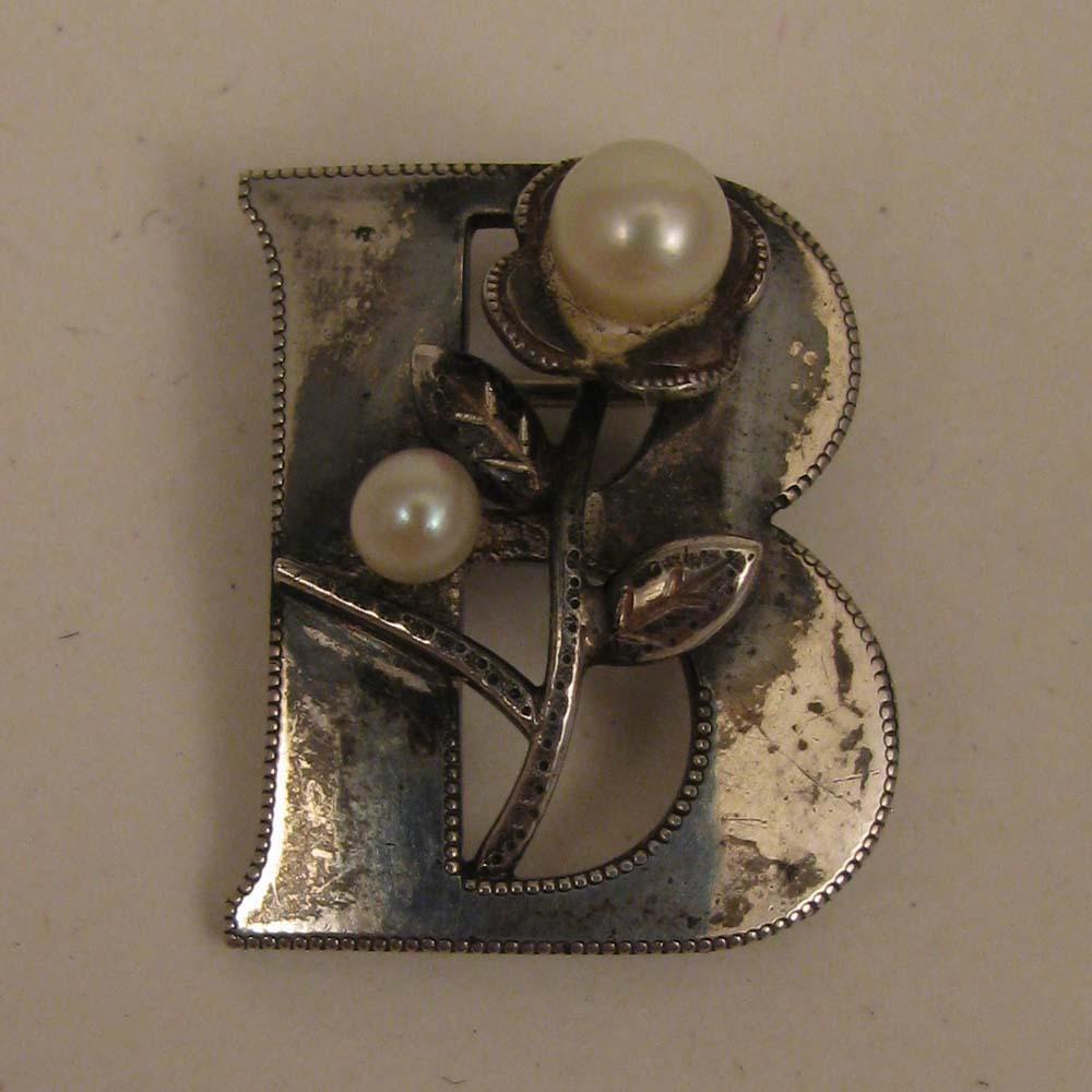 Vintage Sterling Silver Cultured Pearl Initial B Brooch