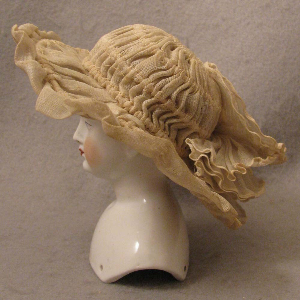Antique French Fashion Pleated Gauze Hat