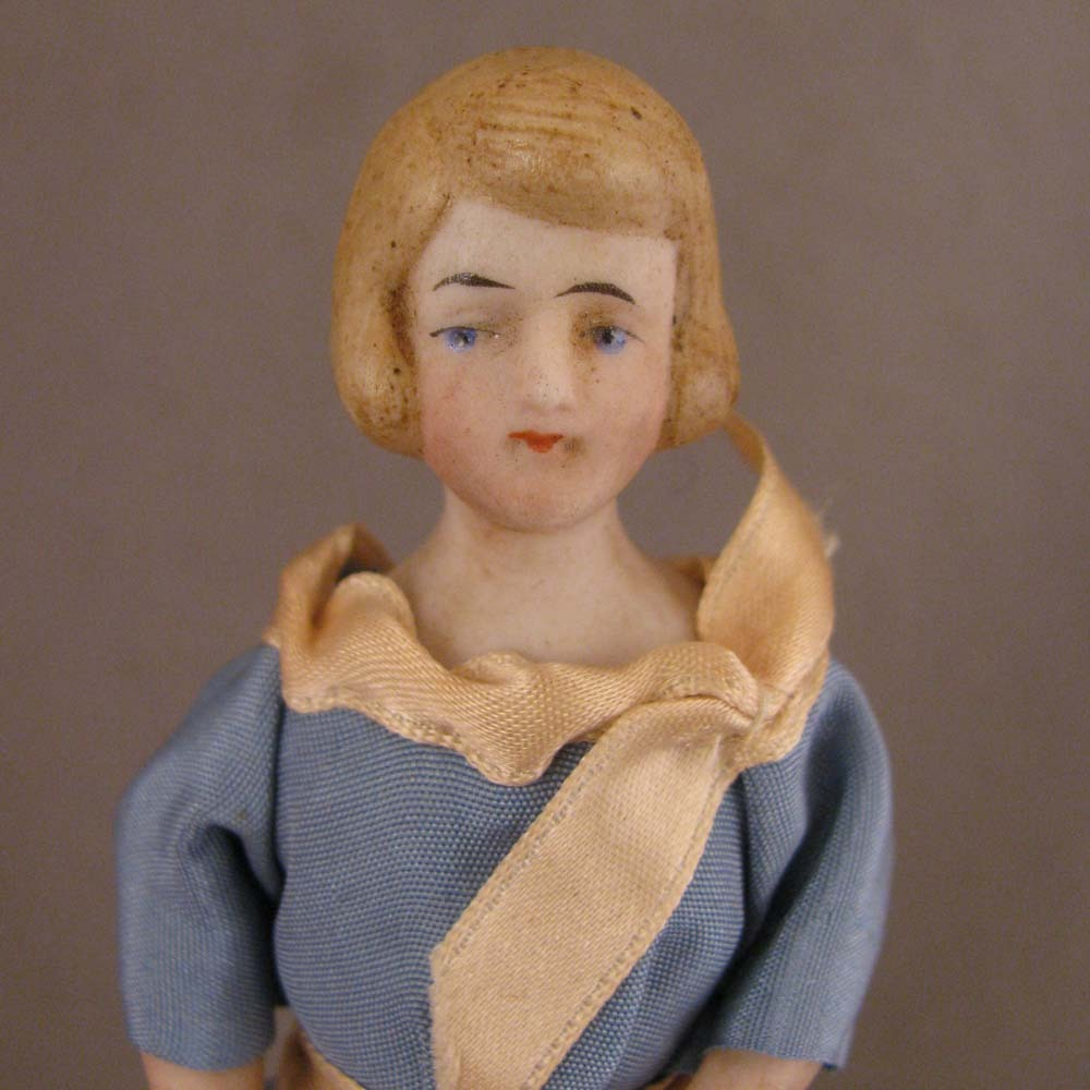 "c. Early 1900s Doll House Doll 5.25"" Lady w/ Bobbed Hair"