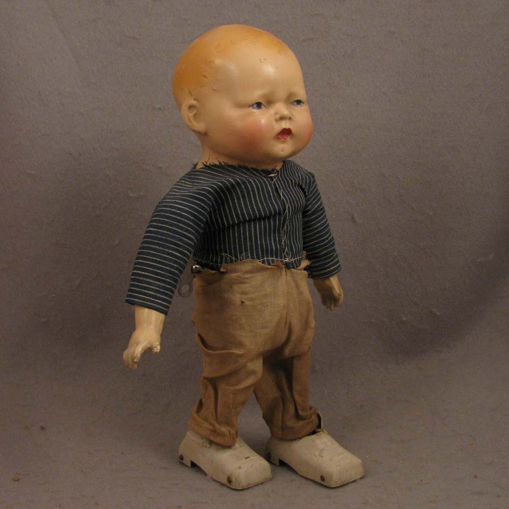 c.1910-1920 Composition Louis Wolf Key Wind Mechanical Walking Doll