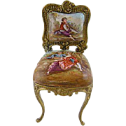 SALE PENDING Antique  VIENNESE ENAMEL Miniature Louis XV  Side Chair