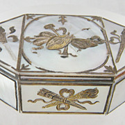 SOLD Antique  Palais Royal  French Mother of Pearl Gold Inlay  PATCH BOX
