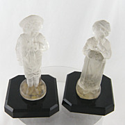 Antique Pair  FRENCH MOLDED Glass Girl and Boy Candle Holder