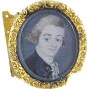 SOLD Antique 18th C Portrait of a Gentleman in Buckle  MINIATURE PORTRAIT