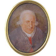 Antique English 1805  ROGER HARWOOD Age 87 Miniature Portrait