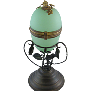 Antique French  GREEN OPALINE Glass Egg Box on Bronze Stand