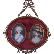 Antique DOUBLE MINIATURE PORTRAITS Beautiful Women in Bronze Hanging Frame
