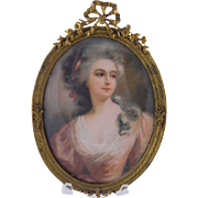 SOLD ANTIQUE FRENCH WOMAN Large Miniature Portrait in Bronze  Hanging Frame