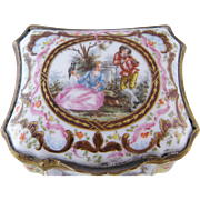 ANTIQUE GERMAN PORCELAIN Table Snuff Cartouche Shape Box