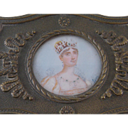 Antique French Bronze with Miniature Portrait of Empress  JOSEPHINE JEWELRY BOX