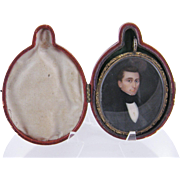 SALE PENDING Antique American 1830 Painted Gentleman  GOLD PIN LEATHER CASE MINIATURE PORTRAIT