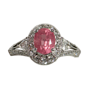 SOLD Beautifully Elegant Unheated PADPARADSCHA Sapphire Diamond Ring