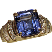 SALE VALENTINES! $14,650 RIVETING 7.67ct Tanzanite and Diamond Ring