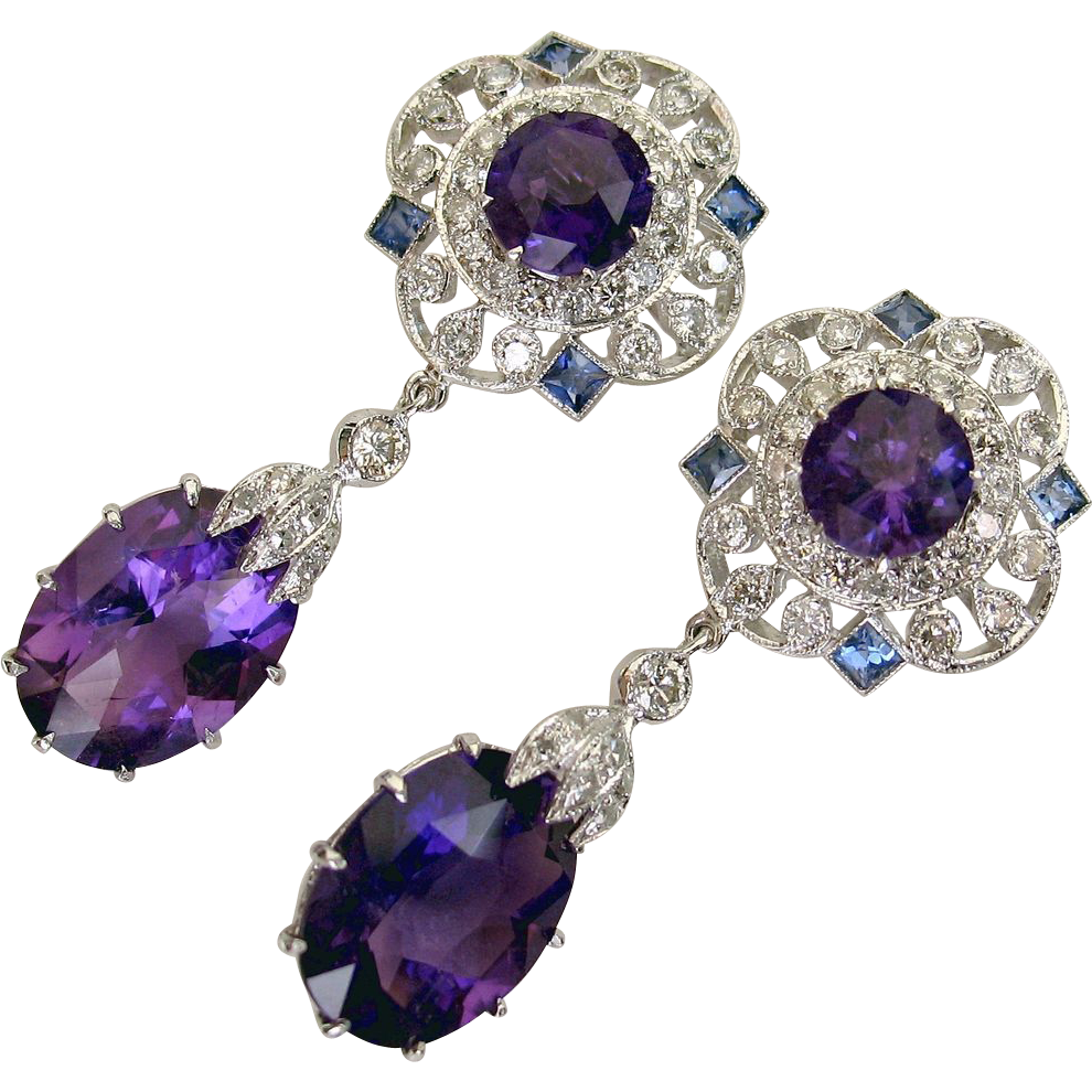 50% OFF! Absolutely GORGEOUS 13ct Vintage Amethyst, Sapphire Diamond Drop Earrings