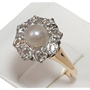 SOLD Breathtaking Platinum-topped 14kt EDWARDIAN Cultured Pearl & Diamond Ring