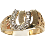 SALE VALENTINES! SAVE 50%! 14k Yellow Gold Diamond Double Horseshoe Ring for Him